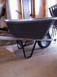 Wheelbarrow rescued from the trash