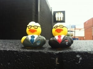 Buffett and Munger in duck form, not spring chickens