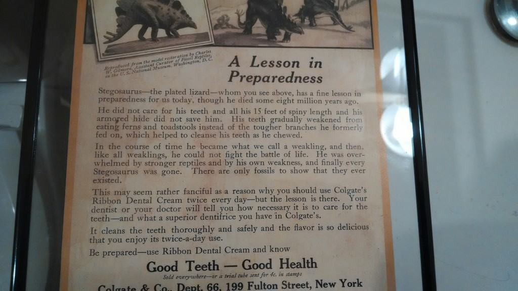 This old ad cracks me up! And you thought a meteor took out the dinosaurs? Nope, they didn't brush their teeth.