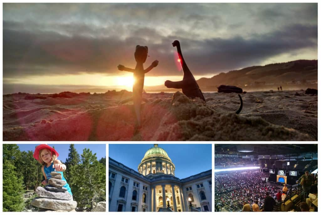Top: The Dinosaurs take in a sunset at Pismo Beach. Bottom (left to right): Daughter building a cairn, Wisconsin Capitol building, Berkshire Hathaway meeting