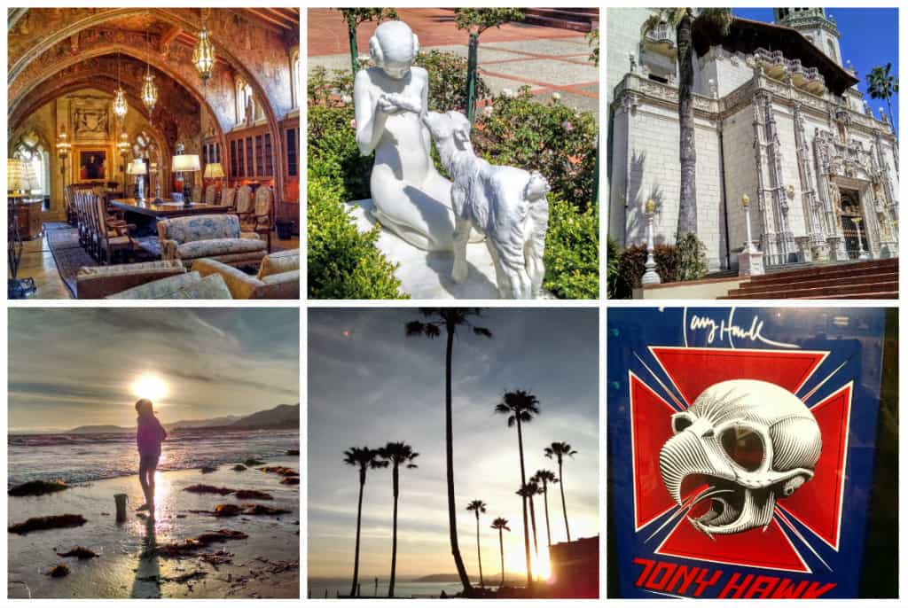 Top row (San Simeon): Some enormous room, Princess Leia feeding a corn cob to a sheep, the front of the Hearst Castle. Bottom row: Pismo Beach and reliving my teenage years at the Morrow Bay Skateboard Museum