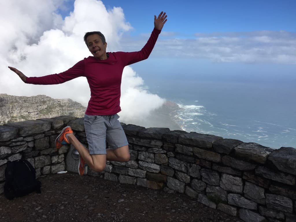 Jumping like a girl on Table Mountain