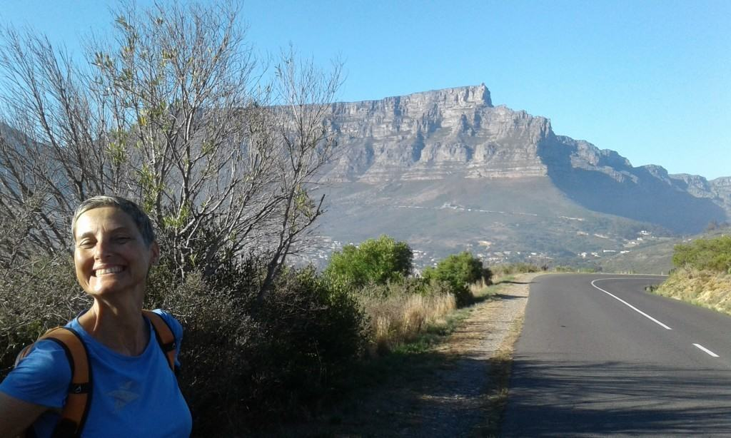 Road from Signal Hill with Table Mountain in bg