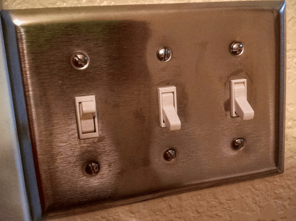 Dear wife, please note the position of the two switches on the right.