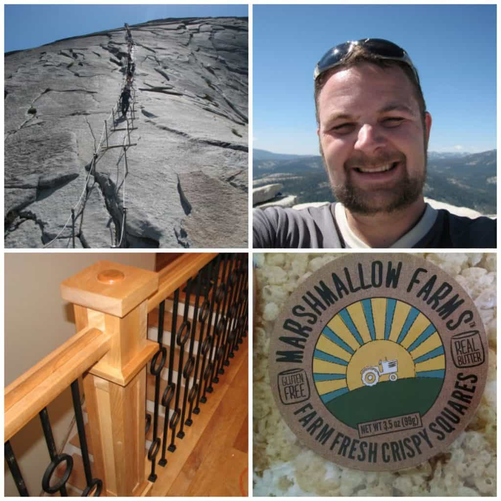 From top left, clockwise: The cables going go the top of Half Dome, me at the summit, Marshmallow Farms, a badass railing that I installed